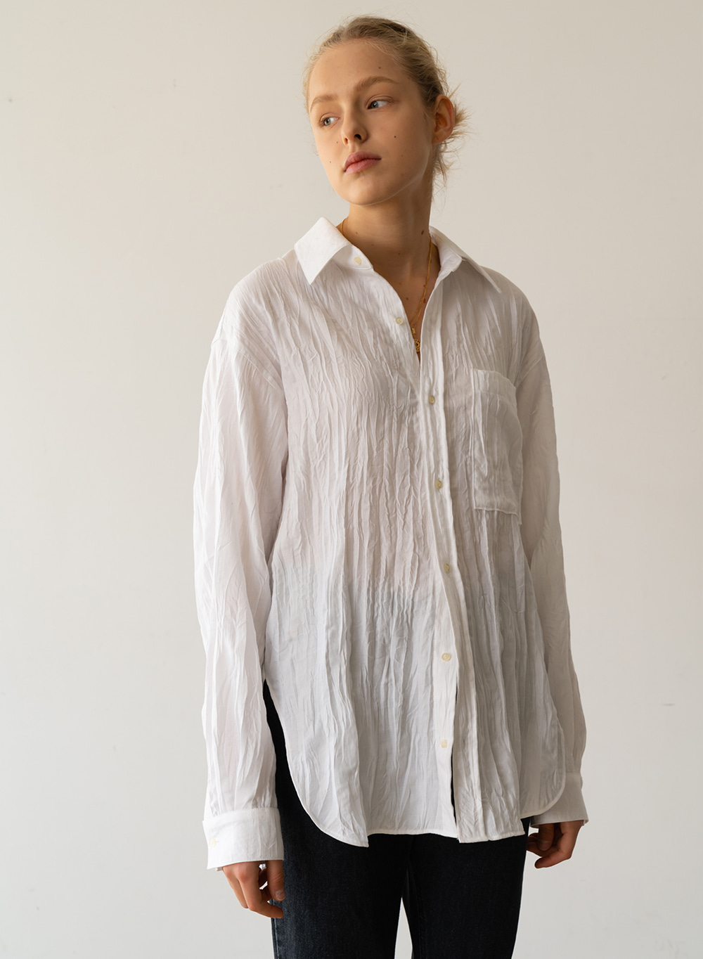 [ESSENTIAL] Wrinkle Oversized Shirt White