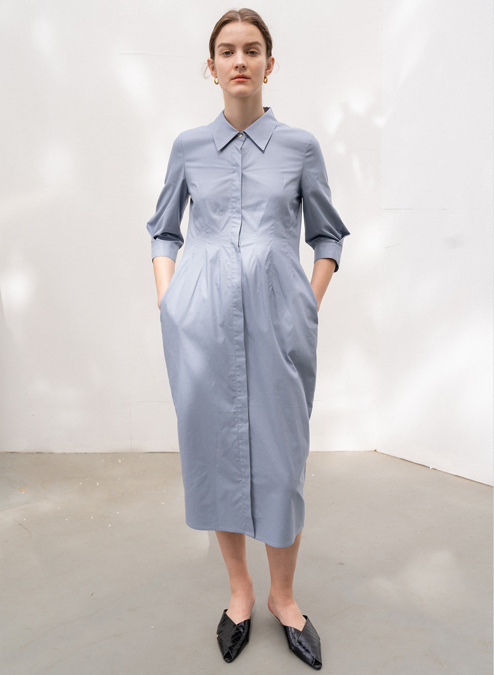 [ESSENTIAL] Silhouette Shirt Dress Blue