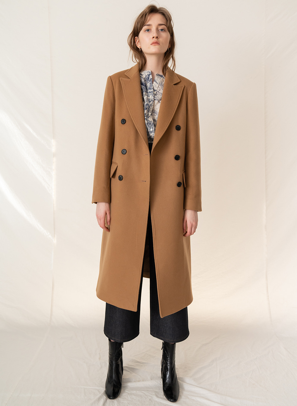 FW19 Cashmere Double Breasted Coat Camel