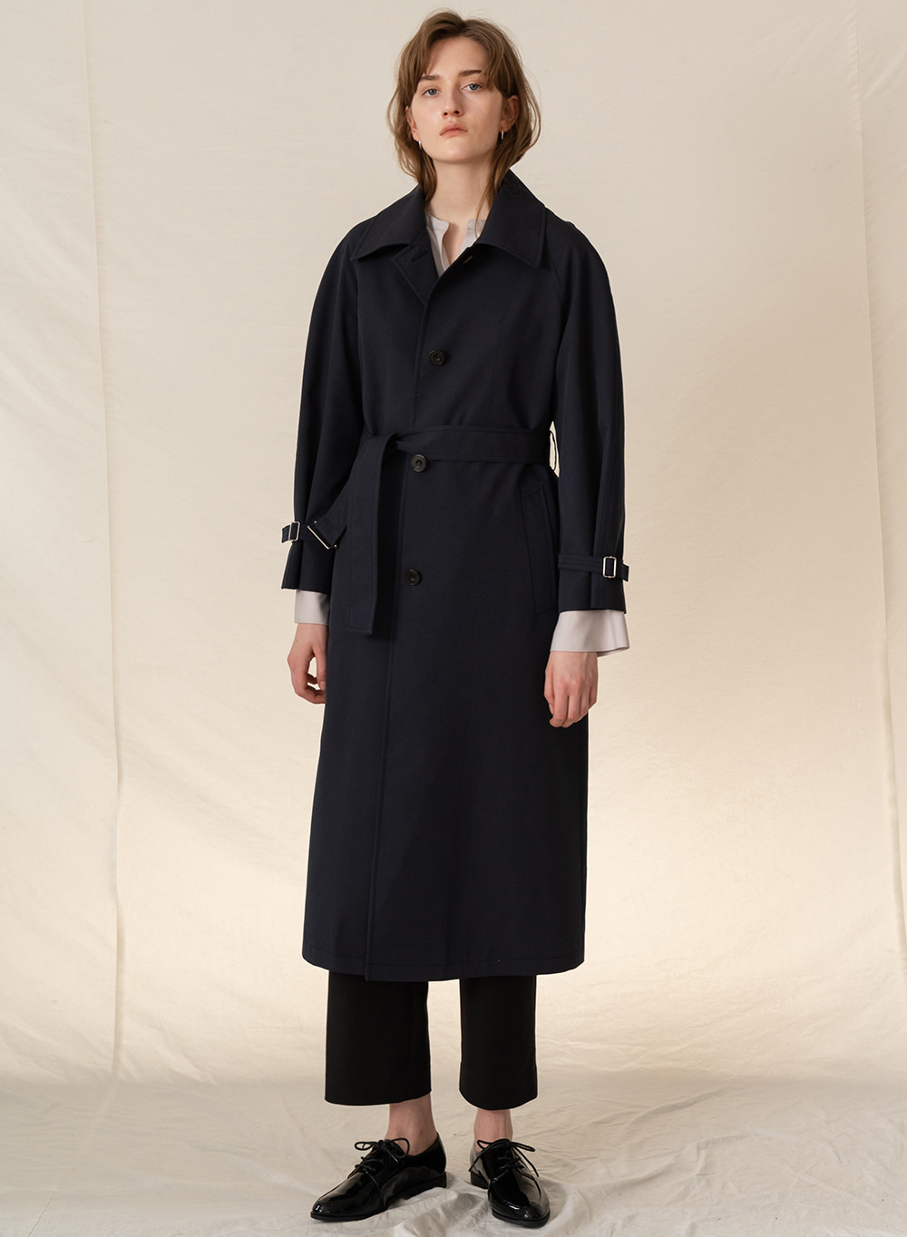FW19 Cotton blended single trench coat darknavy