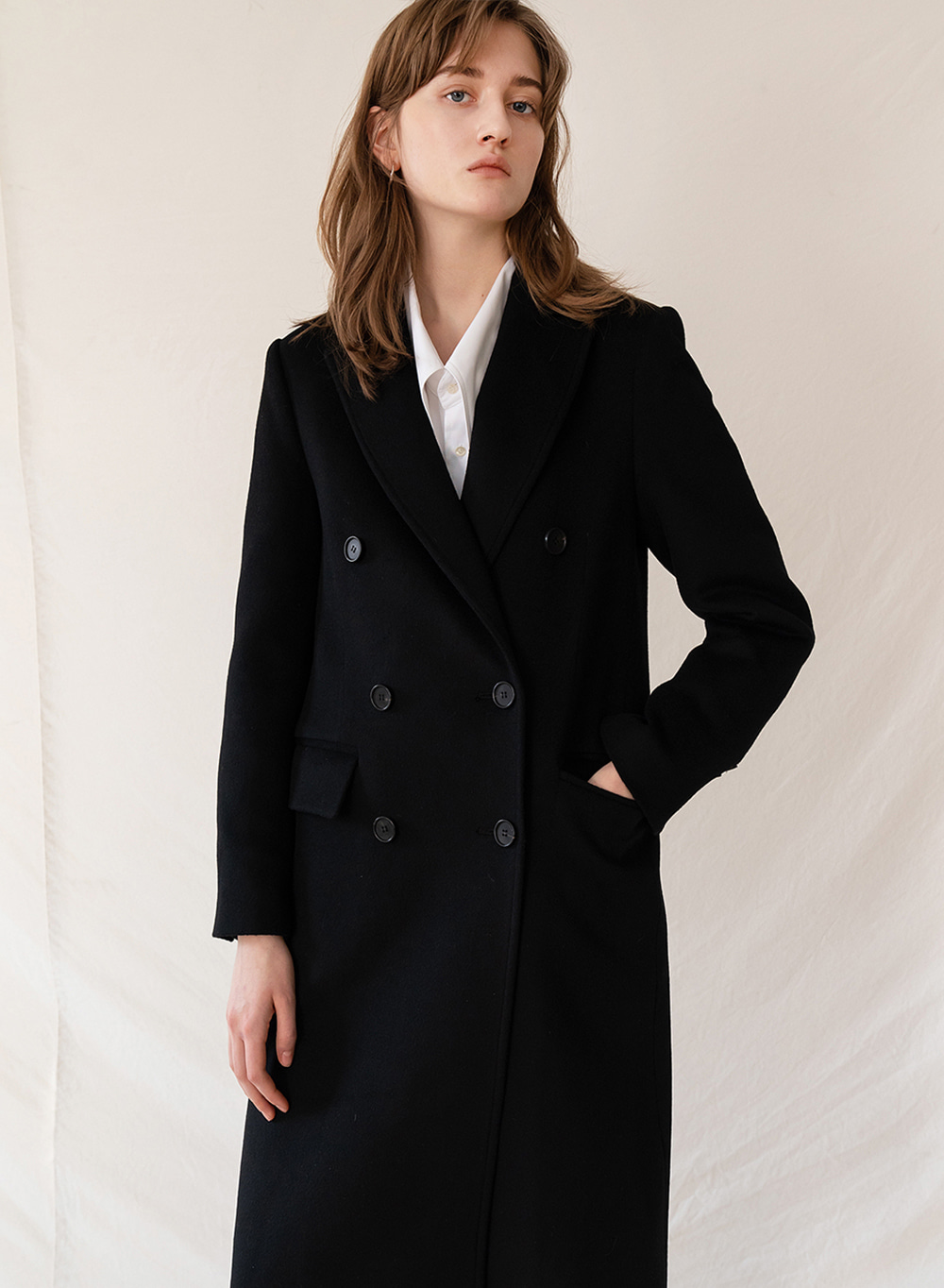 FW19 Cashmere Double Breasted Coat Black