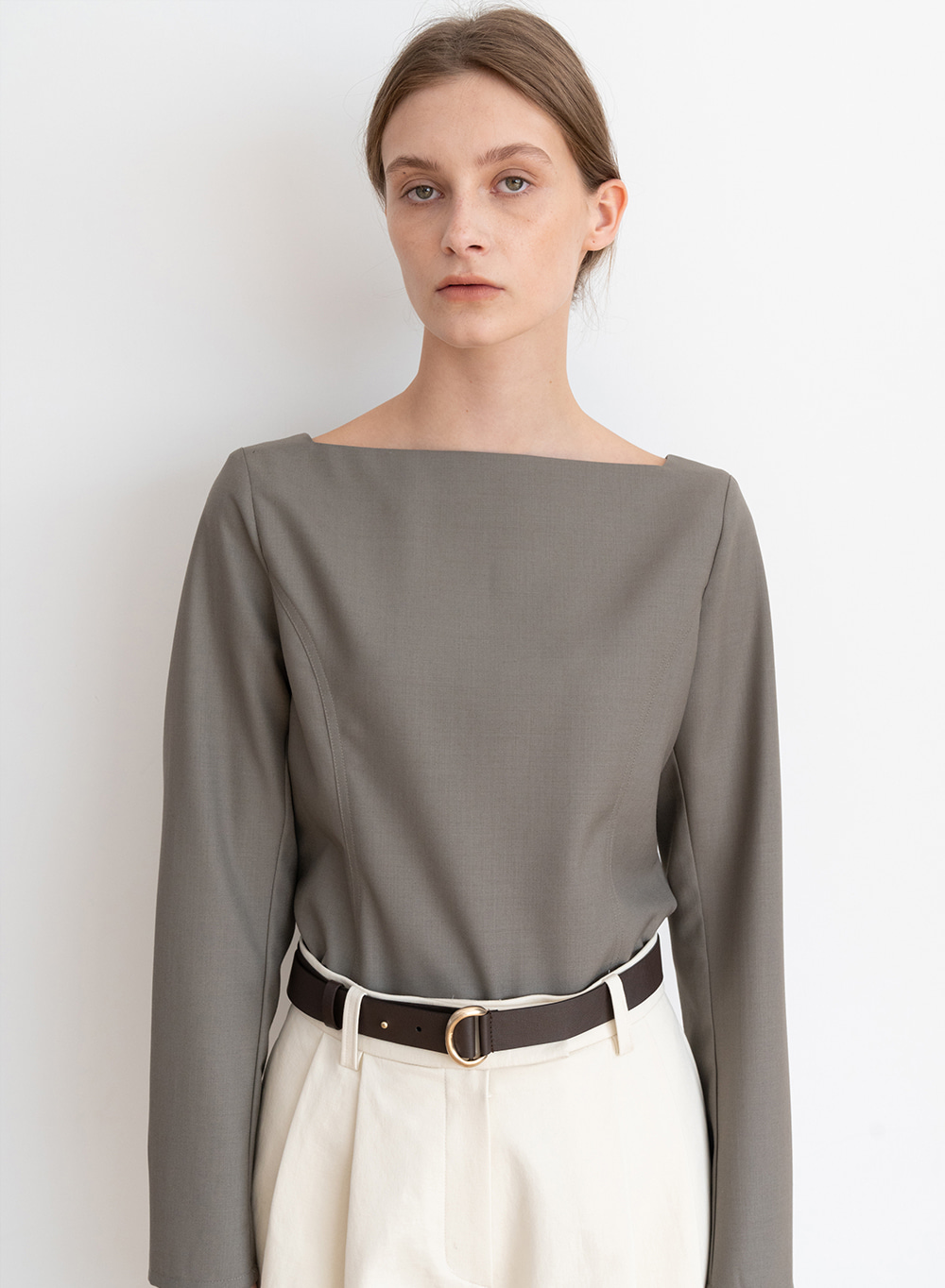 [ESSENTIAL] Square Neck Blouse Brown