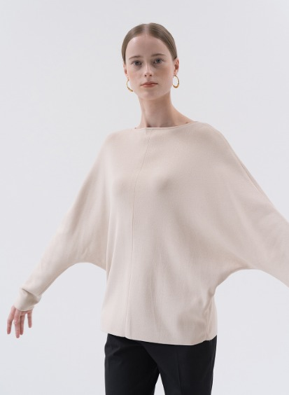 SS20 Dolman Sleeve Pullover Knit Light-Beige