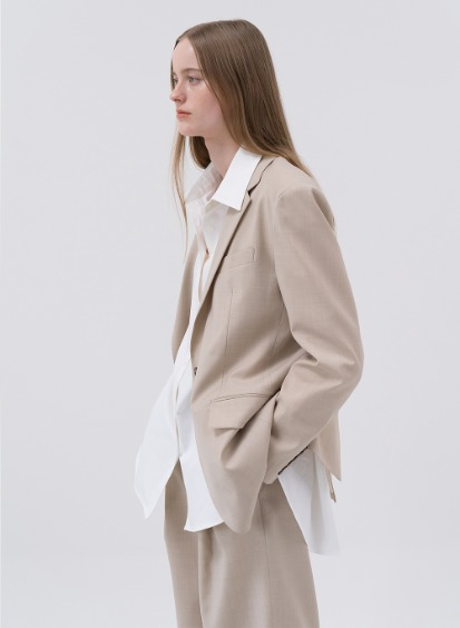 SS20 울 Wool Oversized Single Blazer Beige