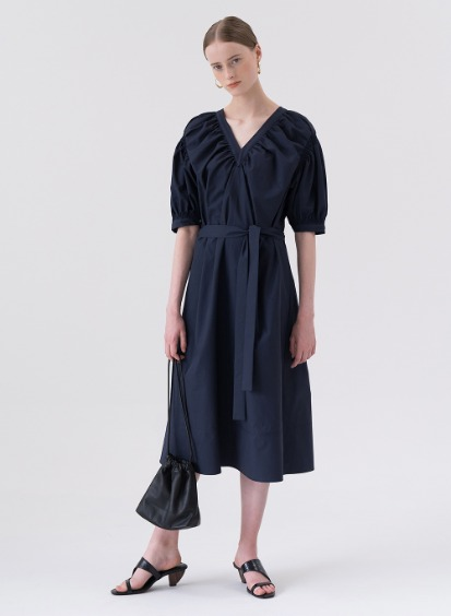 SS20 V-Neck Shirring Dress Navy