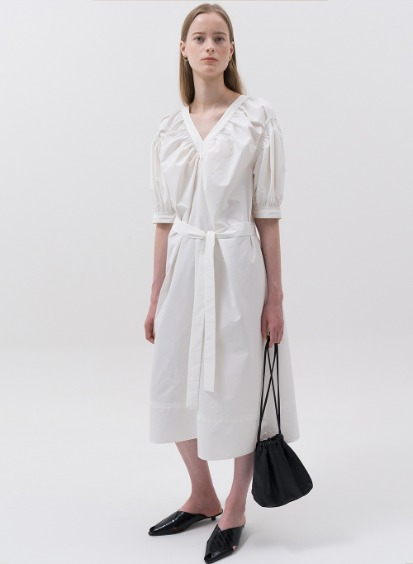 SS20 V-Neck Shirring Dress White