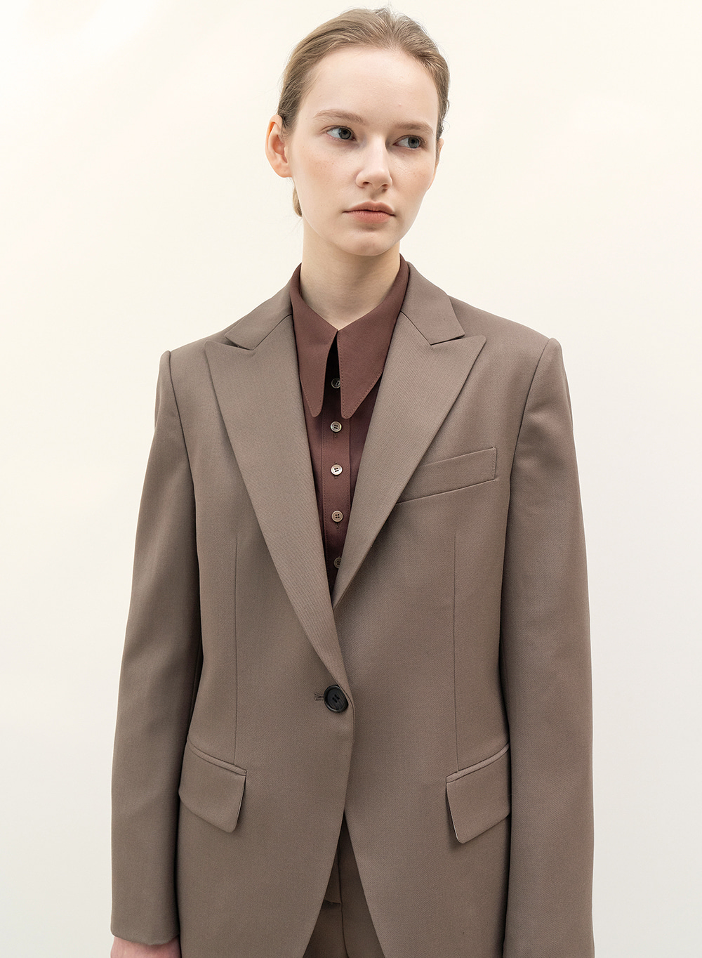 FW20 Single Blazer Wood-Brown