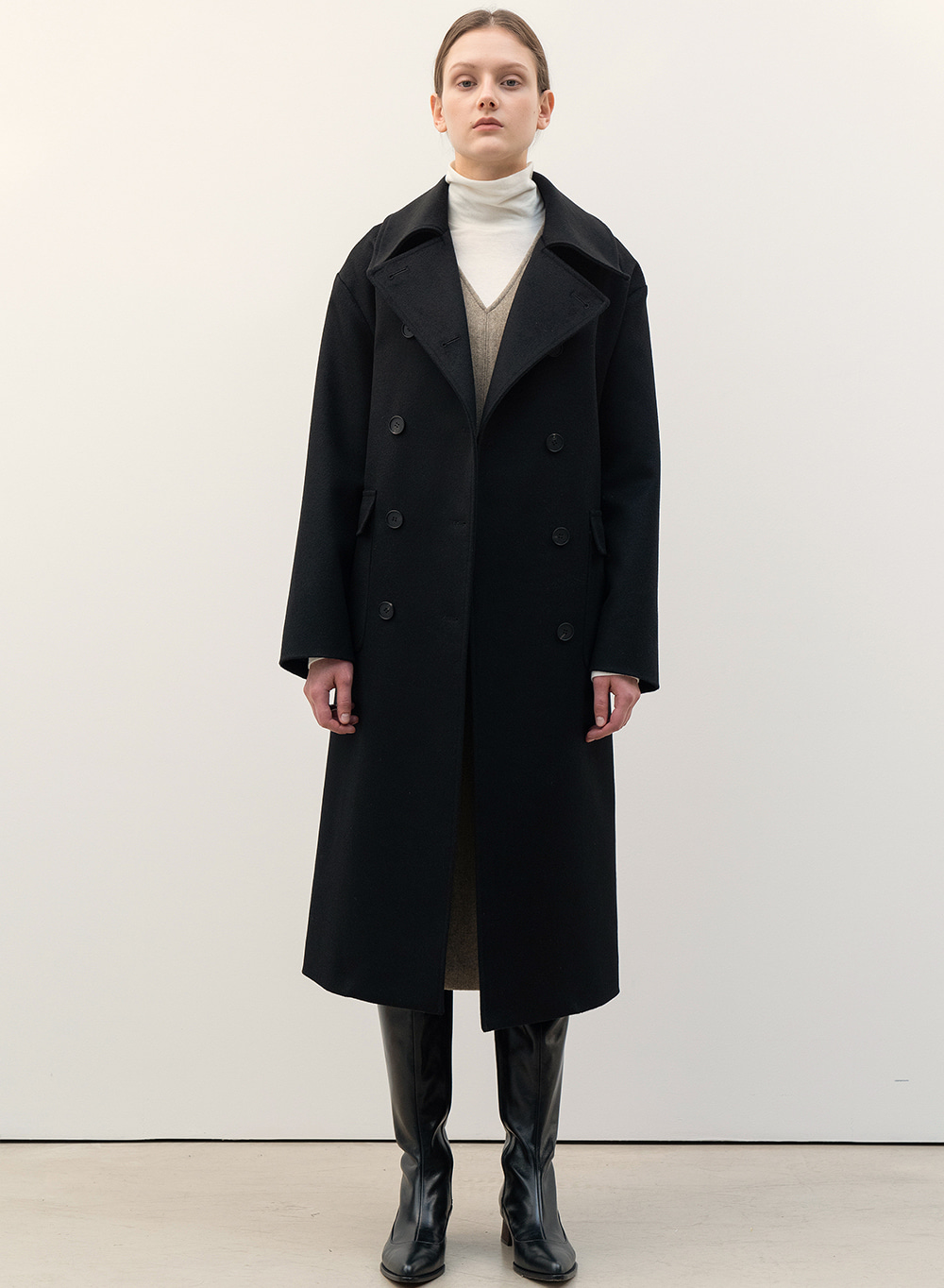 FW20 Cashmere Double Breasted Coat Black