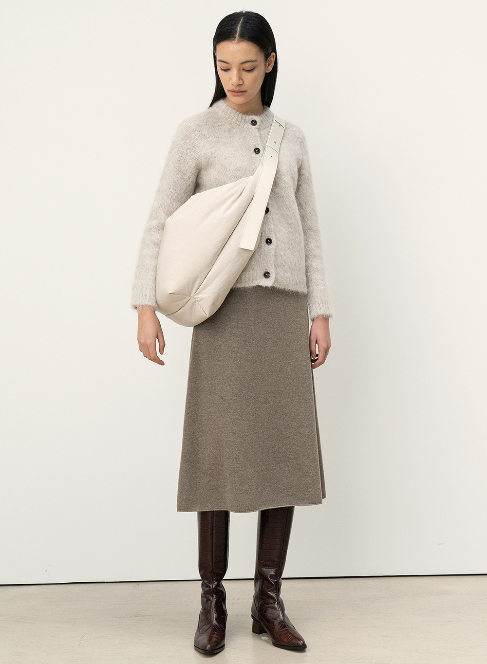 FW20 Knitted Skirt Khaki-Melange
