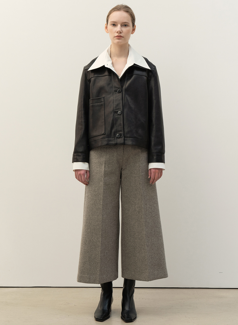 FW20 Crop Structured Pants Stone-Grey