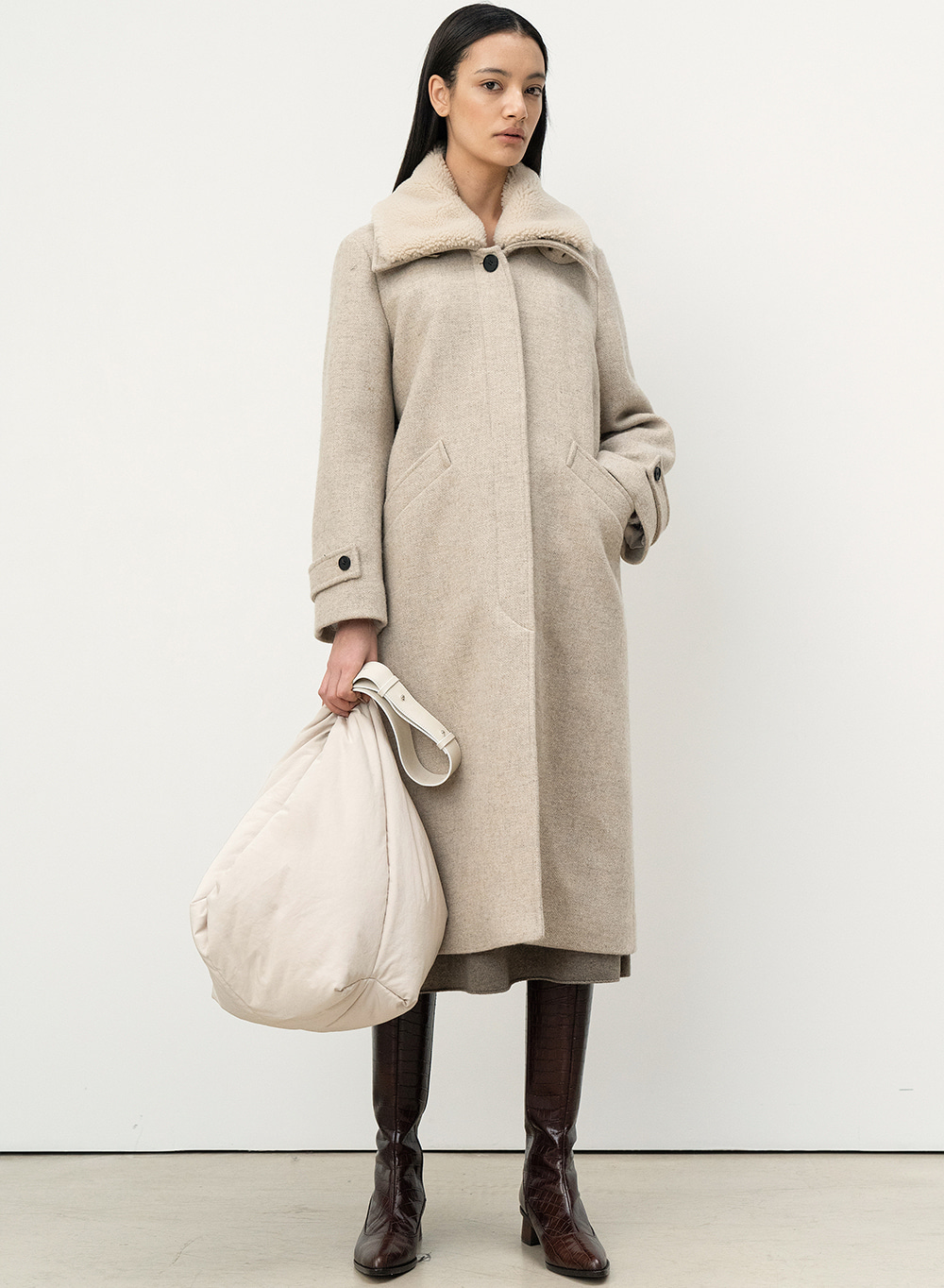 FW20 Midwinter Coat Ivory-Melange