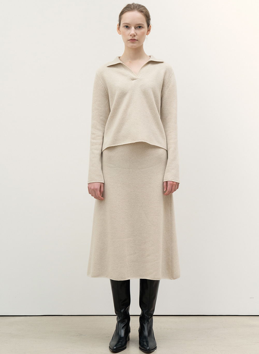 FW20 Knitted Skirt Natural